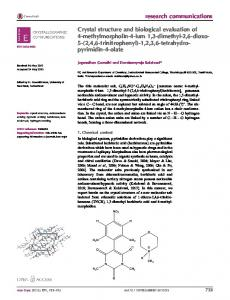 Crystal structure and biological evaluation of 4-methylmorpholin-4-ium ...