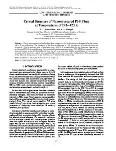 Crystal Structure of Nanostructured PbS Films at ... - Springer Link