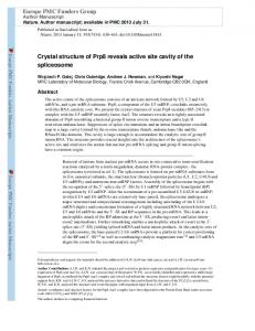 Crystal structure of Prp8 reveals active site cavity of ... - BioMedSearch