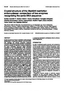 Crystal structure of the Bse634I restriction ... - BioMedSearch