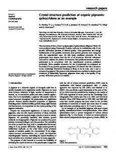 Crystal structure prediction of organic pigments - BioMedSearch