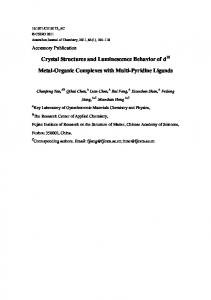 Crystal Structures and Luminescence Behavior of d Metal-Organic ...