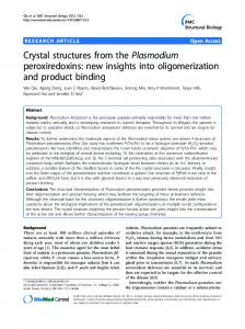 Crystal structures from the Plasmodium peroxiredoxins - BioMedSearch
