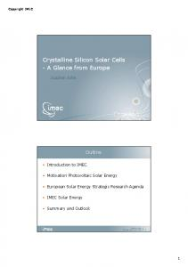 Crystalline Silicon Solar Cells-A glance from european - Centre for ...
