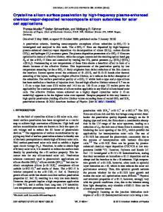 Crystalline silicon surface passivation by high ... - AIP Publishing