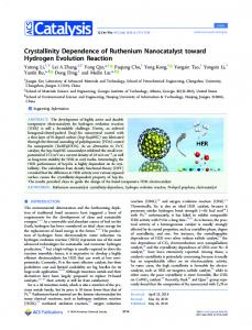 Crystallinity Dependence of Ruthenium Nanocatalyst ...