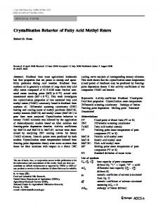Crystallization Behavior of Fatty Acid Methyl Esters - PubAg - USDA