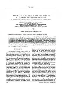 crystallization kinetics of glass-ceramics by differential thermal analysis