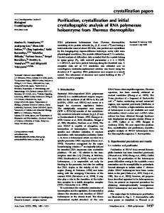 crystallization papers Purification, crystallization and initial ... - CiteSeerX