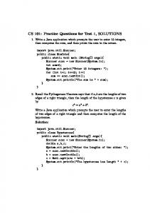 CS 101: Practice Questions for Test 1, SOLUTIONS
