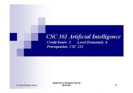CSC 361 Artificial Intelligence