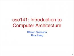 cse141: Introduction to Computer Architecture