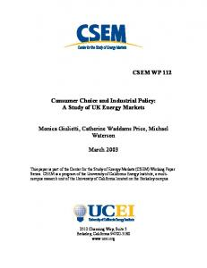 CSEM WP 112 Consumer Choice and Industrial Policy: A ... - CiteSeerX