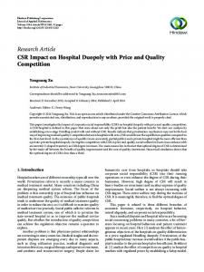 CSR Impact on Hospital Duopoly with Price and Quality Competition