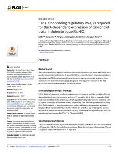 CsrB, a noncoding regulatory RNA, is required for ... - Semantic Scholar