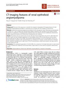 CT-imaging features of renal epithelioid angiomyolipoma | SpringerLink