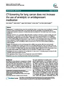 CT-Screening for lung cancer does not increase the ... - BioMedSearch