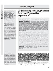 CT Screening for Lung Cancer: Five-year
