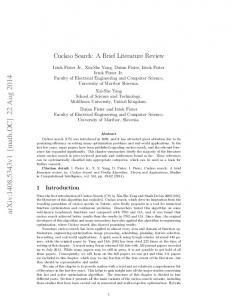 Cuckoo Search: A Brief Literature Review