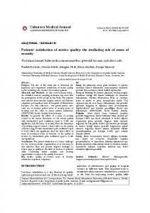 Cukurova Medical Journal Patients' satisfaction of service quality: the ...