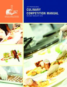 Culinary Competition manual - American Culinary Federation