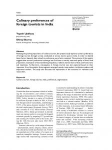 Culinary preferences of foreign tourists in India - SAGE Journals