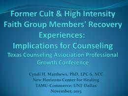 Cult - Texas Counseling Association
