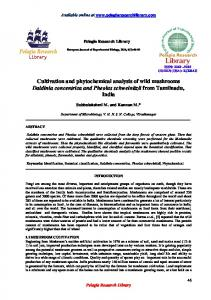 Cultivation and phytochemical analysis of wild mushrooms ... - iMedPub