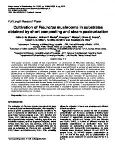 Cultivation of Pleurotus mushrooms in substrates ... - Academic Journals