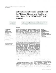 Cultural adaptation and validation of the - SciELO