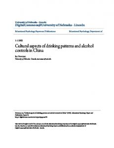Cultural aspects of drinking patterns and alcohol ...