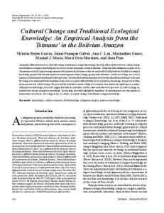 Cultural Change and Traditional Ecological Knowledge - ICTA-UAB