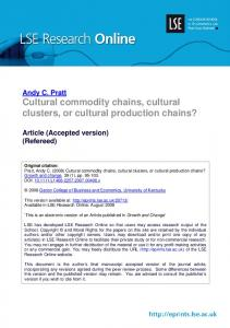 Cultural commodity chains, cultural clusters, or cultural production ...