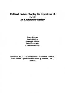 Cultural Factors Shaping the Experience of ICTs: An ...