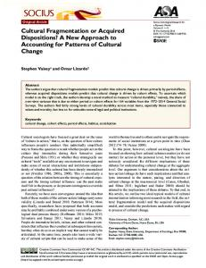 Cultural Fragmentation or Acquired Dispositions? A ... - SAGE Journals