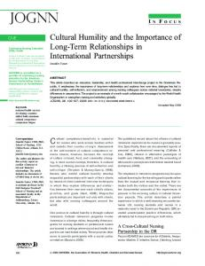 Cultural Humility and the Importance of Long-Term Relationships - jognn