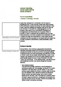 cultural identities social sustainability social cohesion ...