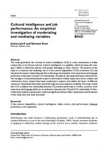 Cultural intelligence and job performance: An