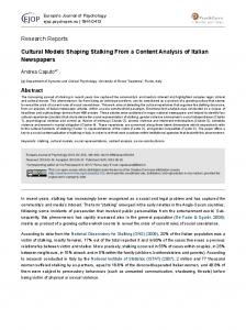 Cultural Models Shaping Stalking From a Content Analysis of Italian ...