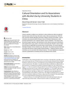 Cultural Orientation and Its Associations with Alcohol Use by ...