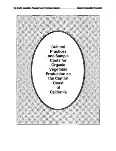 Cultural Practices and Sample Costs for Organic Vegetable Production