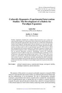Culturally Responsive Experimental Intervention Studies - CRPBIS