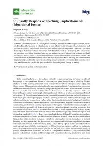 Culturally Responsive Teaching: Implications for Educational Justice