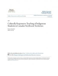 Culturally Responsive Teaching of Indigenous ... - ScholarWorks
