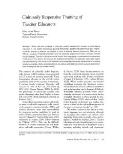 Culturally Responsive Training of Teacher Educators