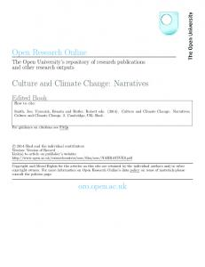Culture and Climate Change: Narratives