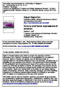 Culture and facial expressions of emotion