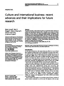 Culture and international business - Faculty of Industrial ...