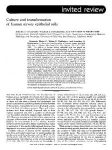 Culture and transformation of human airway epithelial cells