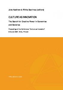CULTURE AS INNOVATION